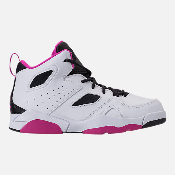 Right view of Girls' Little Kids' Air Jordan Flight Club '91 Basketball Shoes in White/Black/Fuchsia Blast
