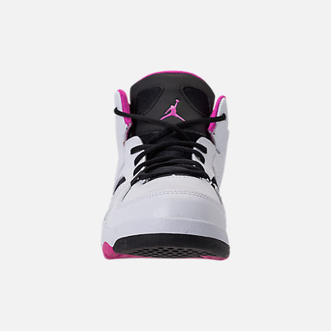 Front view of Girls' Little Kids' Air Jordan Flight Club '91 Basketball Shoes in White/Black/Fuchsia Blast