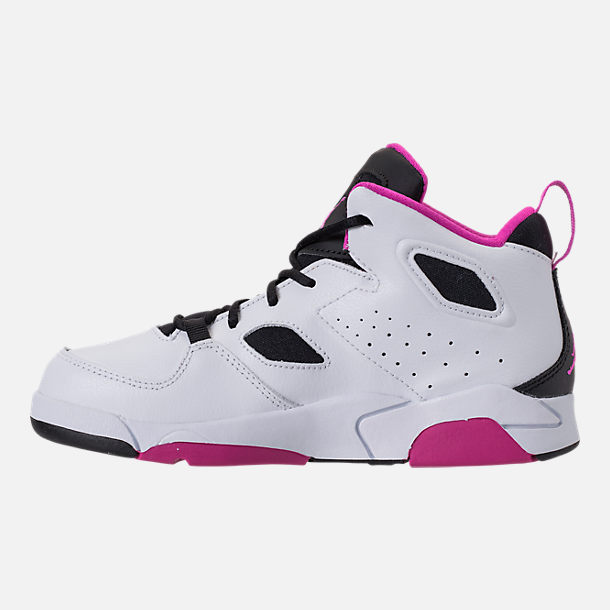 Left view of Girls' Little Kids' Air Jordan Flight Club '91 Basketball Shoes in White/Black/Fuchsia Blast