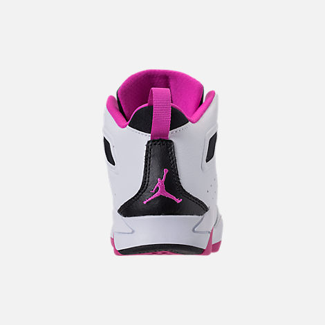 Back view of Girls' Little Kids' Air Jordan Flight Club '91 Basketball Shoes in White/Black/Fuchsia Blast