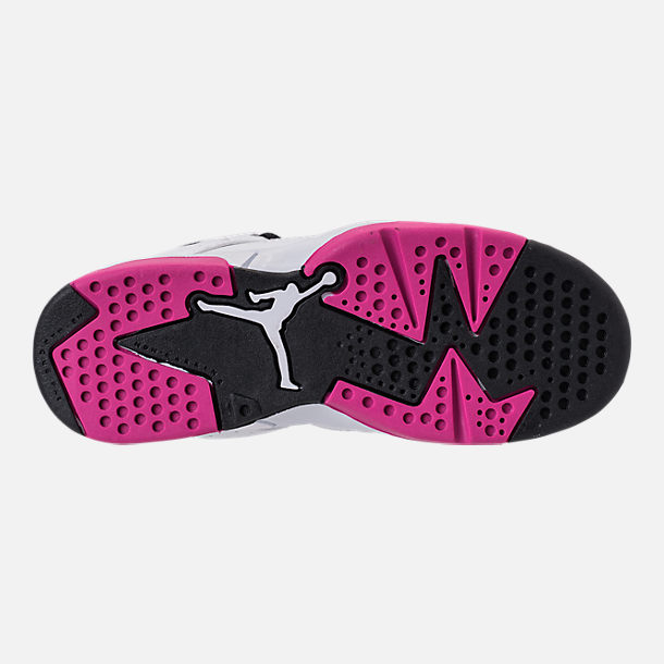 Bottom view of Girls' Little Kids' Air Jordan Flight Club '91 Basketball Shoes in White/Black/Fuchsia Blast