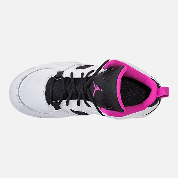 Top view of Girls' Little Kids' Air Jordan Flight Club '91 Basketball Shoes in White/Black/Fuchsia Blast