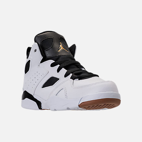 Three Quarter view of Girls' Preschool Air Jordan Flight Club '91 Basketball Shoes in White/Metallic Gold/Black