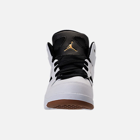 Front view of Girls' Preschool Air Jordan Flight Club '91 Basketball Shoes in White/Metallic Gold/Black