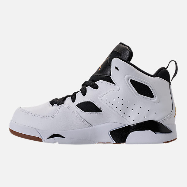 Left view of Girls' Preschool Air Jordan Flight Club '91 Basketball Shoes in White/Metallic Gold/Black