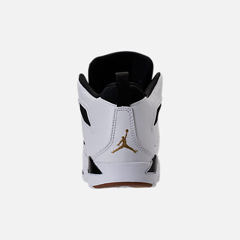 Back view of Girls' Preschool Air Jordan Flight Club '91 Basketball Shoes in White/Metallic Gold/Black