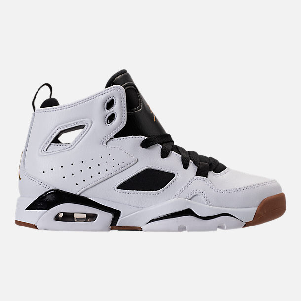 Right view of Girls' Grade School Air Jordan Flight Club '91 (3.5y - 9.5y) Basketball Shoes in White/Metallic Gold/Black