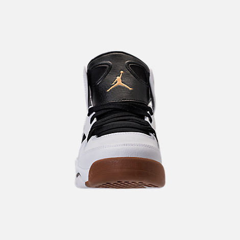 Front view of Girls' Grade School Air Jordan Flight Club '91 (3.5y - 9.5y) Basketball Shoes in White/Metallic Gold/Black