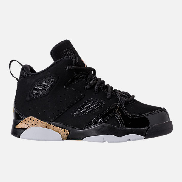 Right view of Boys' Little Kids' Air Jordan Flight Club '91 Basketball Shoes in Black/Metallic Gold/White