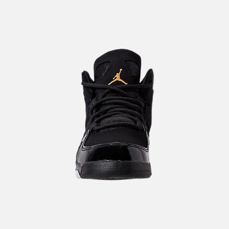 Front view of Boys' Little Kids' Air Jordan Flight Club '91 Basketball Shoes in Black/Metallic Gold/White