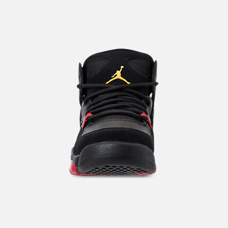 Front view of Boys' Big Kids' Air Jordan Flight Club '91 Basketball Shoes in Black/Dandelion/Varsity Red