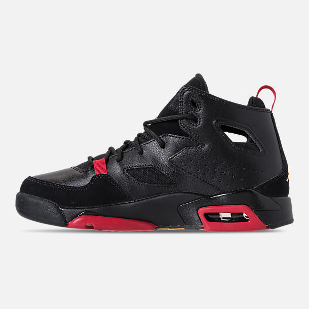 Left view of Boys' Big Kids' Air Jordan Flight Club '91 Basketball Shoes in Black/Dandelion/Varsity Red