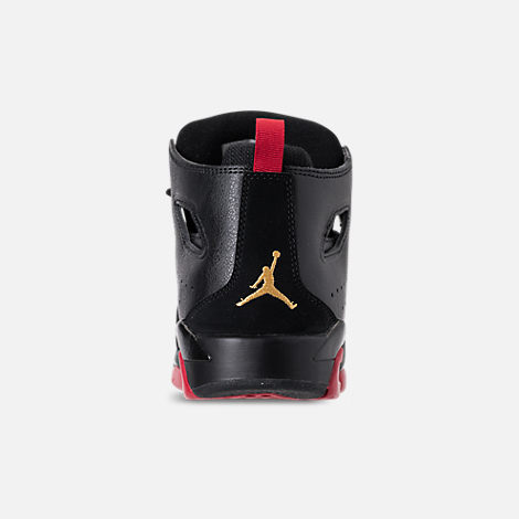 Back view of Boys' Big Kids' Air Jordan Flight Club '91 Basketball Shoes in Black/Dandelion/Varsity Red