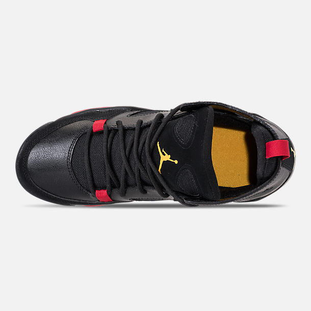 Top view of Boys' Big Kids' Air Jordan Flight Club '91 Basketball Shoes in Black/Dandelion/Varsity Red