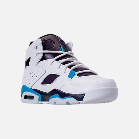 Three Quarter view of Boys' Big Kids' Air Jordan Flight Club '91 Basketball Shoes in White/Blue Lagoon/Grand Purple