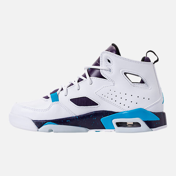 Left view of Boys' Big Kids' Air Jordan Flight Club '91 Basketball Shoes in White/Blue Lagoon/Grand Purple