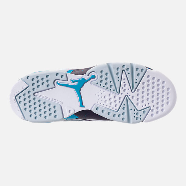 Bottom view of Boys' Big Kids' Air Jordan Flight Club '91 Basketball Shoes in White/Blue Lagoon/Grand Purple