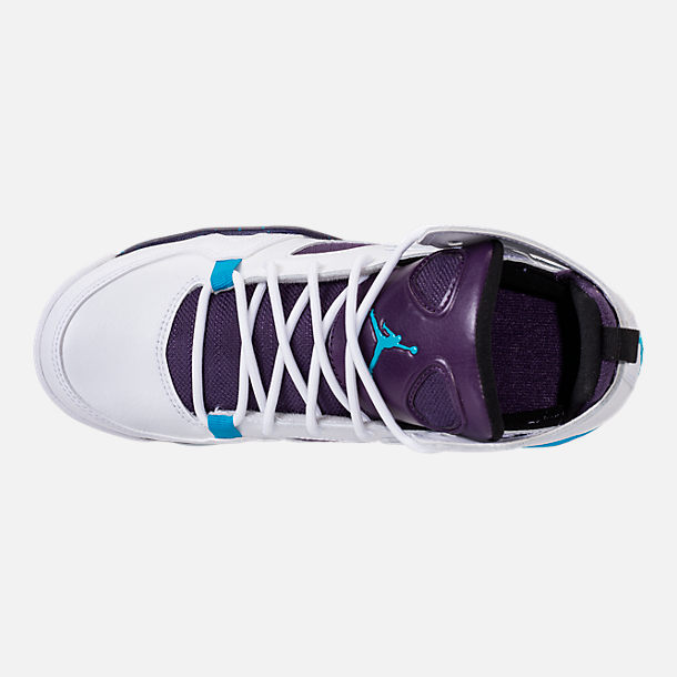 Top view of Boys' Big Kids' Air Jordan Flight Club '91 Basketball Shoes in White/Blue Lagoon/Grand Purple