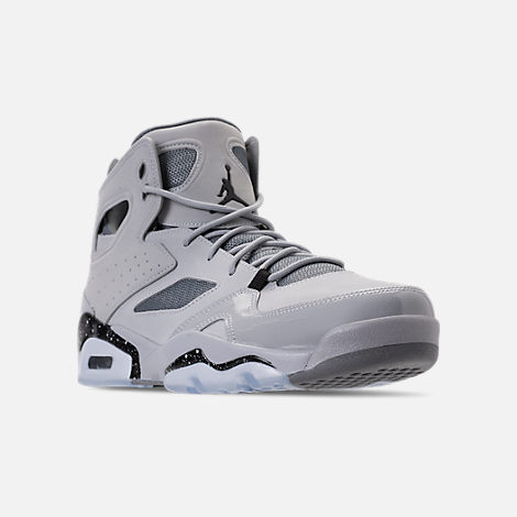 Three Quarter view of Men's Air Jordan Flight Club '91 Basketball Shoes in Wolf Grey/Black/Cool Grey
