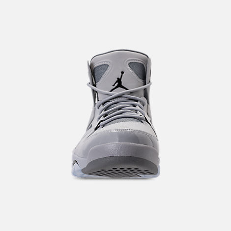 Front view of Men's Air Jordan Flight Club '91 Basketball Shoes in Wolf Grey/Black/Cool Grey