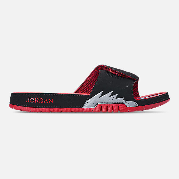 Right view of Men's Jordan Hydro V Retro Slide Sandals in Black/University Red/Particle Grey
