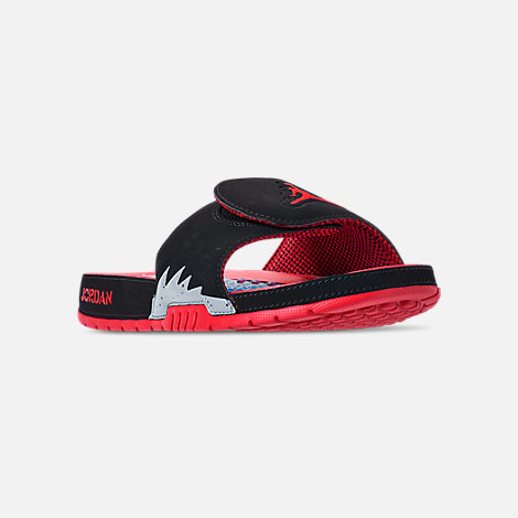Three Quarter view of Men's Jordan Hydro V Retro Slide Sandals in Black/University Red/Particle Grey