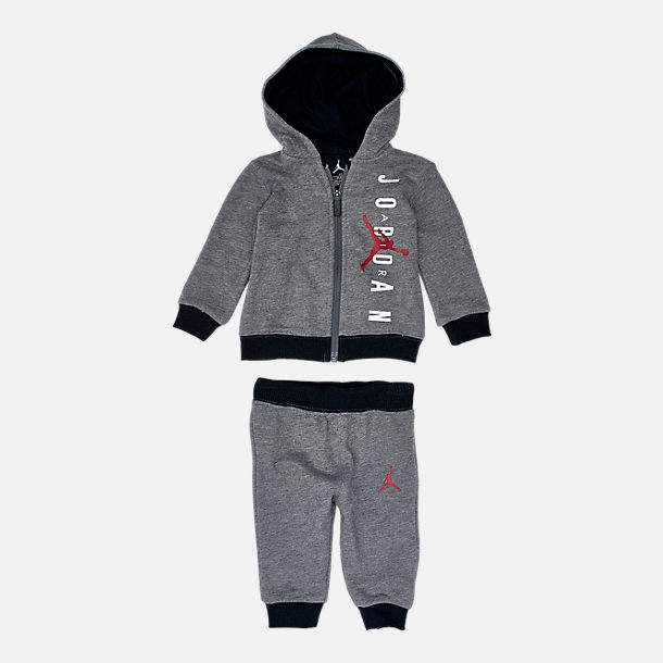Front view of Boys' Infant and Toddler Jordan Full-Zip Hoodie and Pants Set in Mid Grey