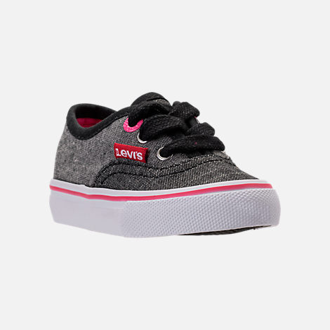 Three Quarter view of Girls' Toddler Levi's Monterey Chambray 2 Tone Casual Shoes in Black/Charcoal/Fuchsia