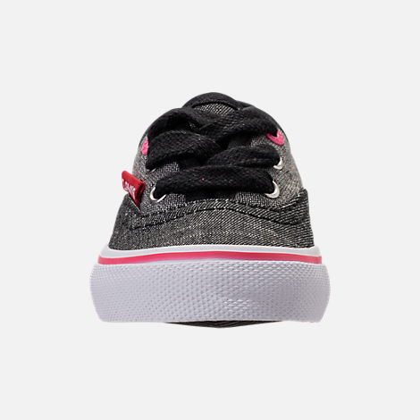Front view of Girls' Toddler Levi's Monterey Chambray 2 Tone Casual Shoes in Black/Charcoal/Fuchsia