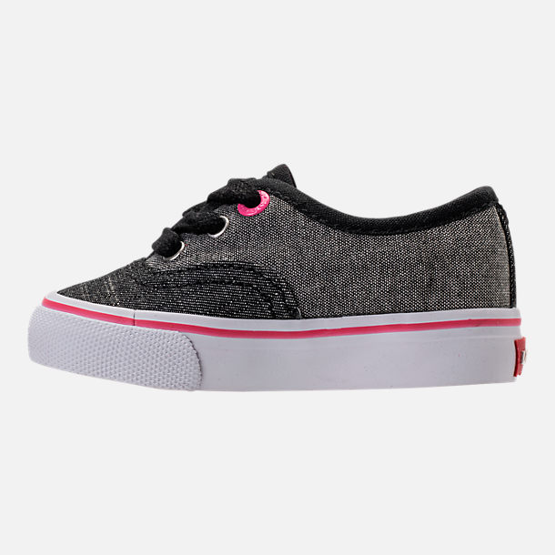 Left view of Girls' Toddler Levi's Monterey Chambray 2 Tone Casual Shoes in Black/Charcoal/Fuchsia