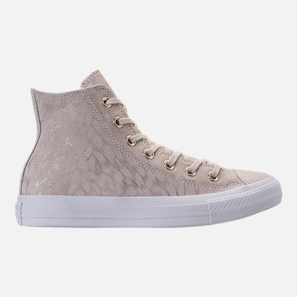 Right view of Women's Converse Chuck Taylor High Top Shimmer Casual Shoes in Buff/White