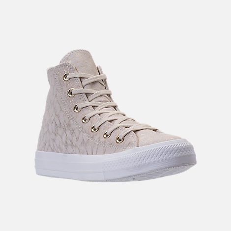 Three Quarter view of Women's Converse Chuck Taylor High Top Shimmer Casual Shoes in Buff/White
