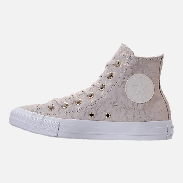 Left view of Women's Converse Chuck Taylor High Top Shimmer Casual Shoes in Buff/White