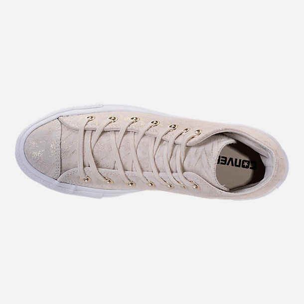 Top view of Women's Converse Chuck Taylor High Top Shimmer Casual Shoes in Buff/White