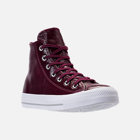 Three Quarter view of Women's Converse Chuck Taylor Hi Patent Casual Shoes in Dark Sangria