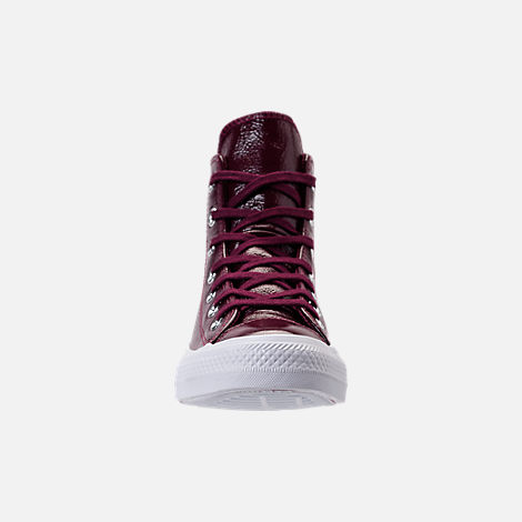 Front view of Women's Converse Chuck Taylor Hi Patent Casual Shoes in Dark Sangria