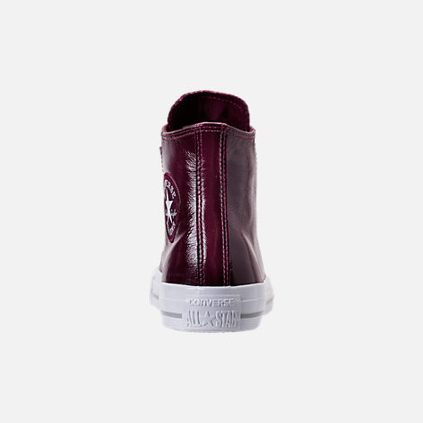Back view of Women's Converse Chuck Taylor Hi Patent Casual Shoes in Dark Sangria