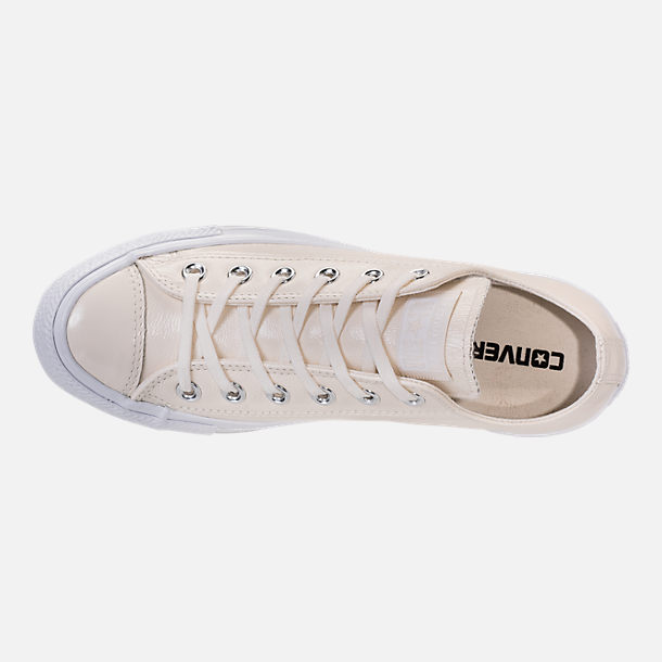 Top view of Women's Converse Chuck Taylor Ox Patent Casual Shoes in Egret