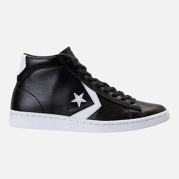 Right view of Women's Converse Pro Leather Mid Casual Shoes in Black/White
