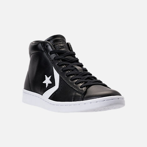 Three Quarter view of Women's Converse Pro Leather Mid Casual Shoes in Black/White