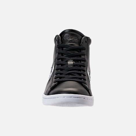 Front view of Women's Converse Pro Leather Mid Casual Shoes in Black/White