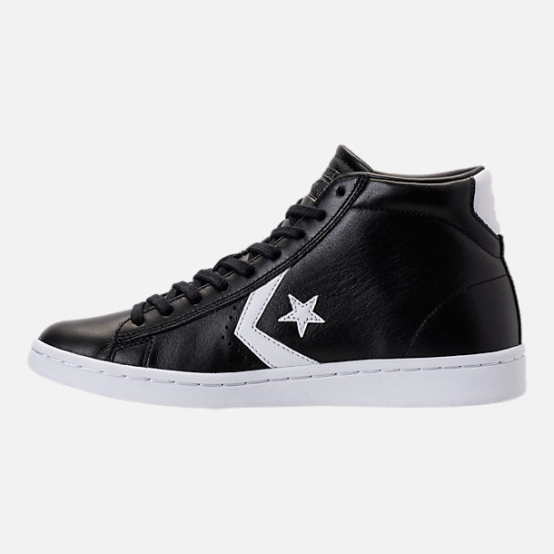 Left view of Women's Converse Pro Leather Mid Casual Shoes in Black/White