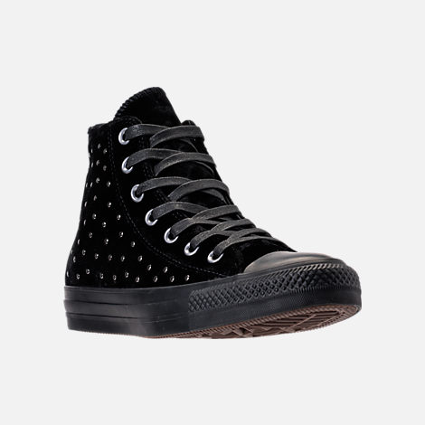 Three Quarter view of Women's Converse Chuck Taylor High Top Velvet Stud Casual Shoes in Black/Black/Black
