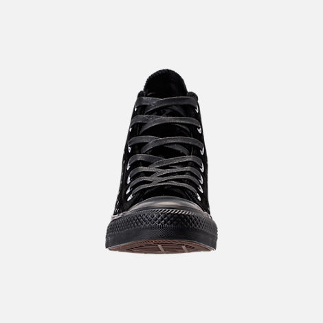 Front view of Women's Converse Chuck Taylor High Top Velvet Stud Casual Shoes in Black/Black/Black