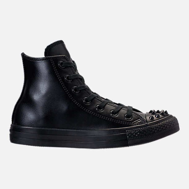 Right view of Women's Converse Chuck Taylor High Top Stud Casual Shoes in Black