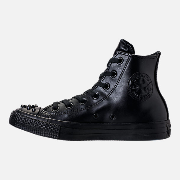 Left view of Women's Converse Chuck Taylor High Top Stud Casual Shoes in Black