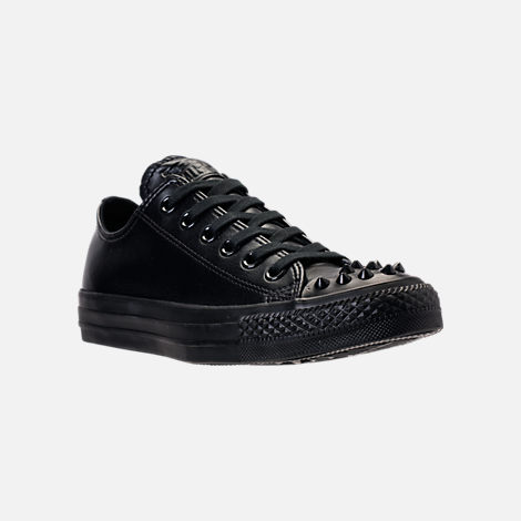Three Quarter view of Women's Converse Chuck Taylor Ox Stud Casual Shoes in Black