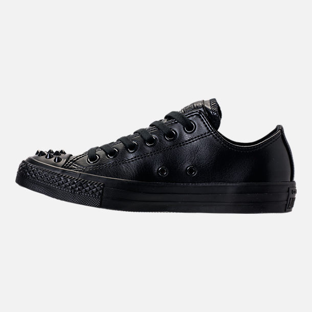 Left view of Women's Converse Chuck Taylor Ox Stud Casual Shoes in Black
