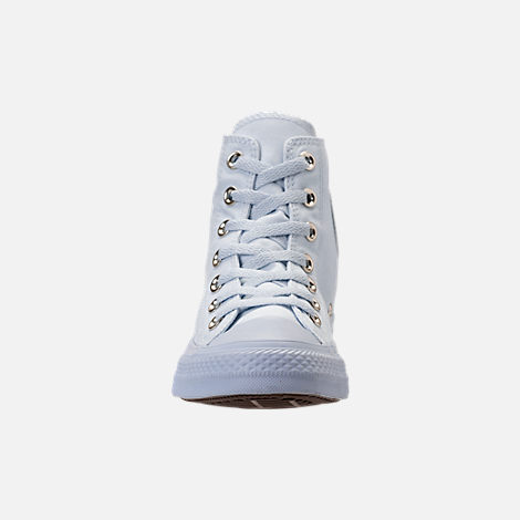 Front view of Women's Converse Chuck Taylor High Top Casual Shoes in Blue Tint/Blue Tint/Gold