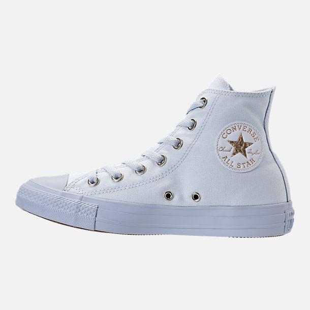 Left view of Women's Converse Chuck Taylor High Top Casual Shoes in Blue Tint/Blue Tint/Gold